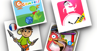 Assemblage des icônes des 4 applications Android pour apprendre à lire l'heure.