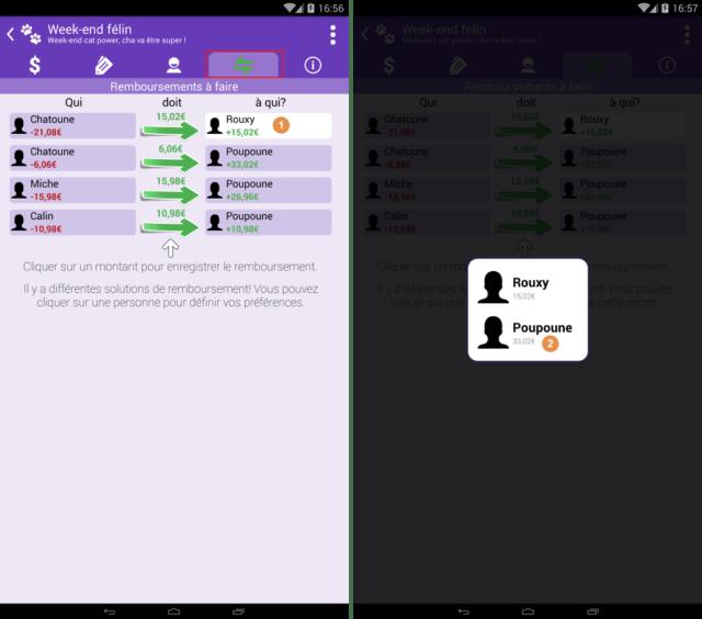Capture d'écran de l'application Android Abcba (comptes entre amis), autres solutions de remboursements.