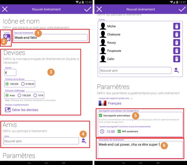 Capture d'écran de l'application Android Abcba (comptes entre amis), définition des détails d'un évènement.