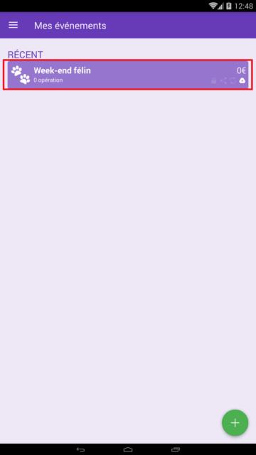 Capture d'écran de l'application Android Abcba (comptes entre amis), liste des événements.