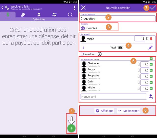 Capture d'écran de l'application Android Abcba (comptes entre amis), nouvelle opération.
