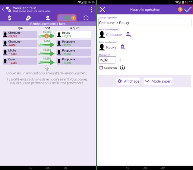 Capture d'écran de l'application Android Abcba (comptes entre amis), remboursements à faire.