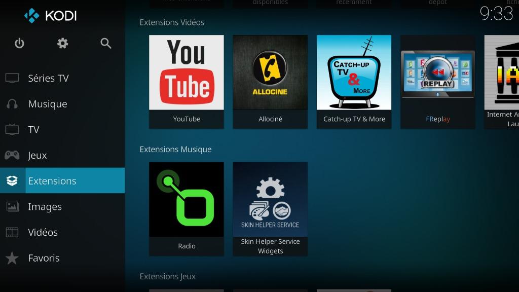 """Capture d'écran de l'application Kodi, écran d'accueil """"Extensions""""."""