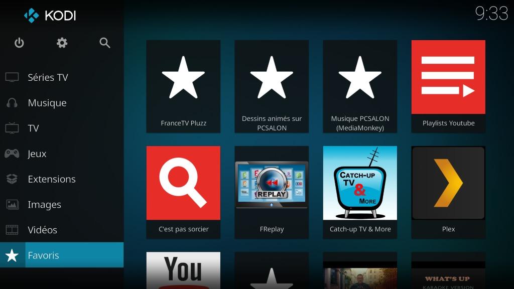 "Capture d'écran de l'application Kodi, écran d'accueil ""Favoris"" ."