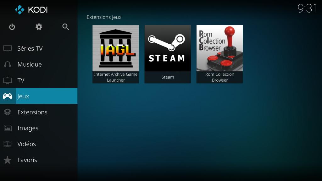 """Capture d'écran de l'application Kodi, écran d'accueil """"Jeux""""."""