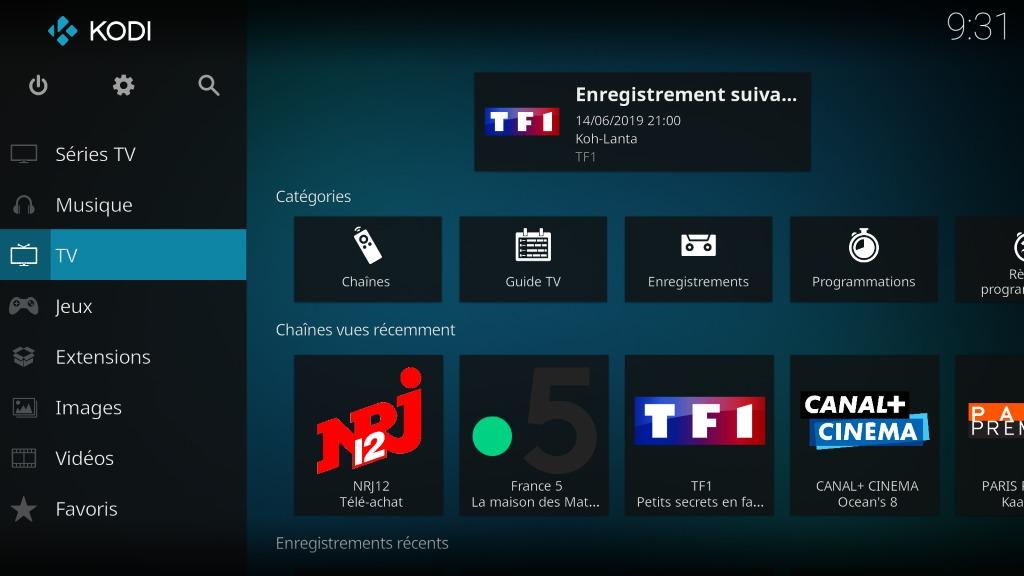 """Capture d'écran de l'application Kodi, écran d'accueil """"TV""""."""