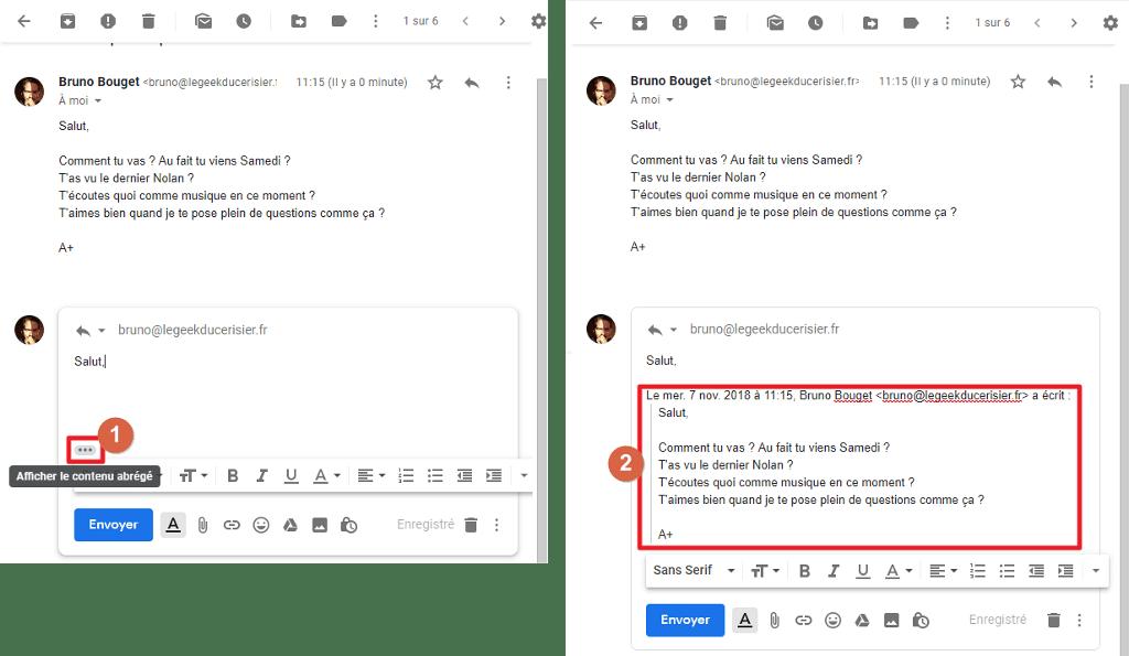 Capture d'écran du site Gmail, bouton afficher le contenu abrégé pour coller message précédent dans réponse.