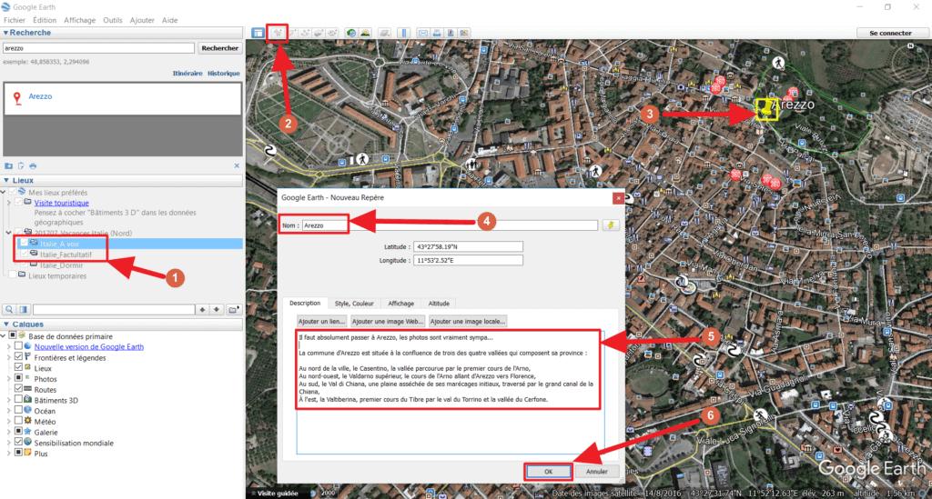 Capture d'écran de Google Earth : ajouter un repère
