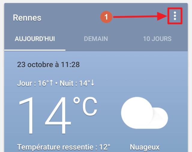 Capture d'écran de l'application Google, ajout raccourci météo méthode 2.