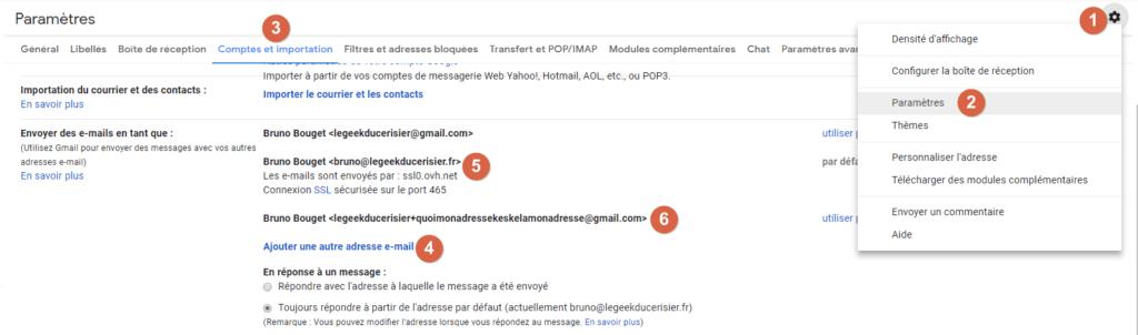 Capture d'écran du site Gmail, ajouter adresses e-mail supplémentaires ou alias Gmail