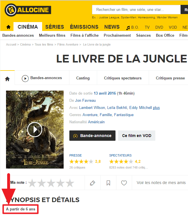 """Allociné indique """"A partir de 6 ans"""" pour """"Le Livre de la jungle (2016)""""."""
