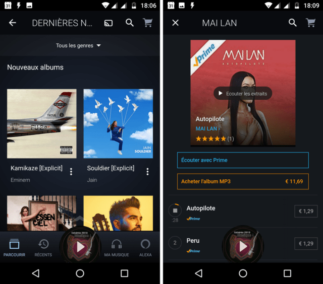 Capture d'écran de l'application Amazon Music