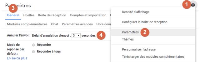 Capture d'écran du site Gmail, paramètres pour annuler l'envoi d'un message.