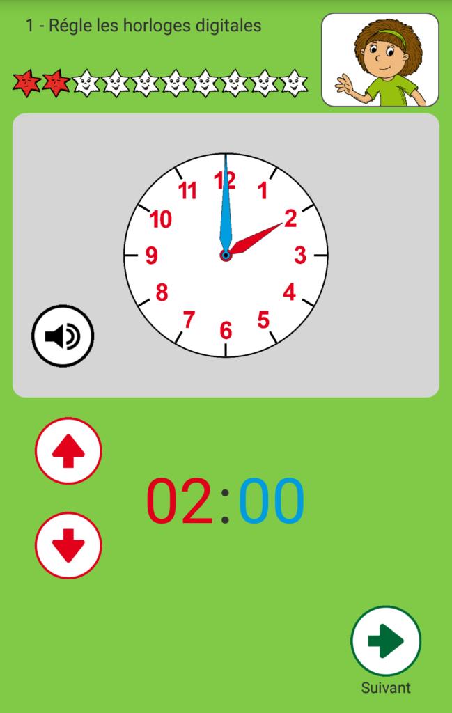 Capture d'écran de l'application Apprendre à lire l'heure, exercice.