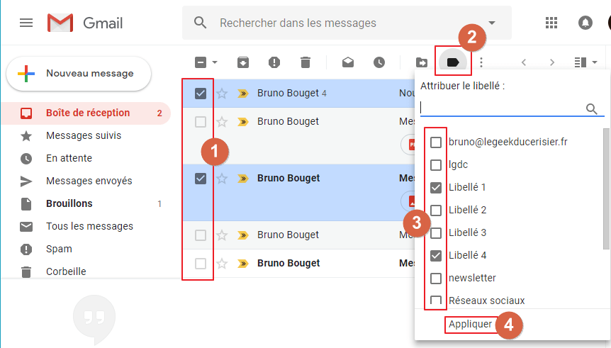 Capture d'écran du site Gmail, attribuer libellés à message