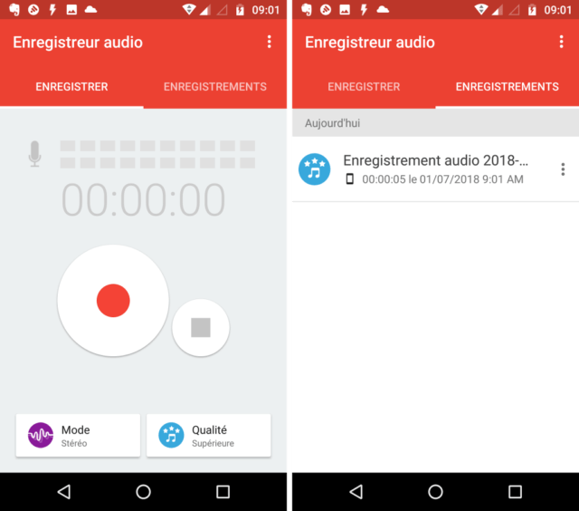 Capture d'écran de l'application Audio Recorder