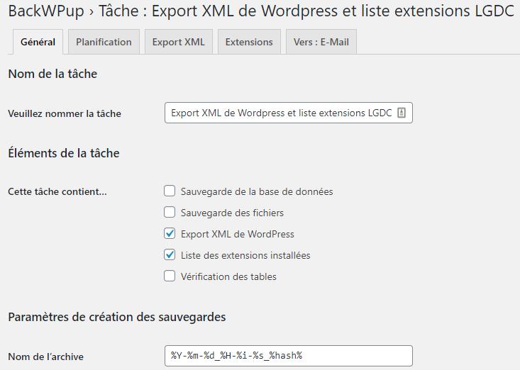 "Capture d'écran de l'écran ""tâche"" de l'extension WordPress ""BackWPup""."