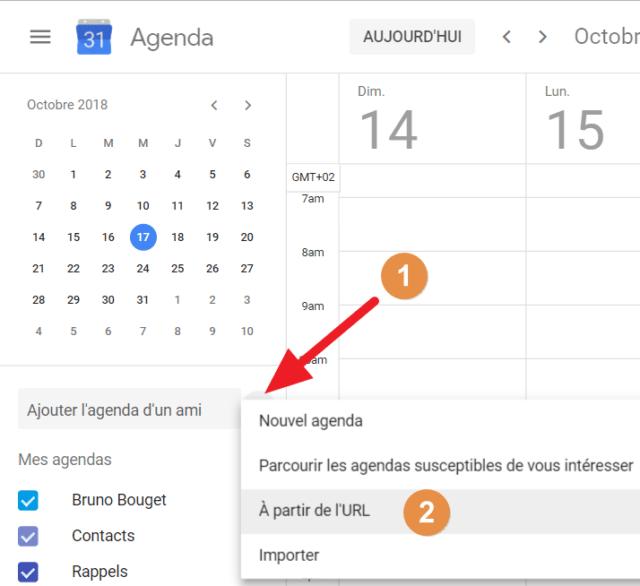"""Capture d'écran du site Google Agenda, bouton """"+"""" pour ajouter un agenda à partir de l'URL"""