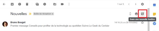 Capture d'écran du site Gmail, bouton nouvelle fenêtre message.