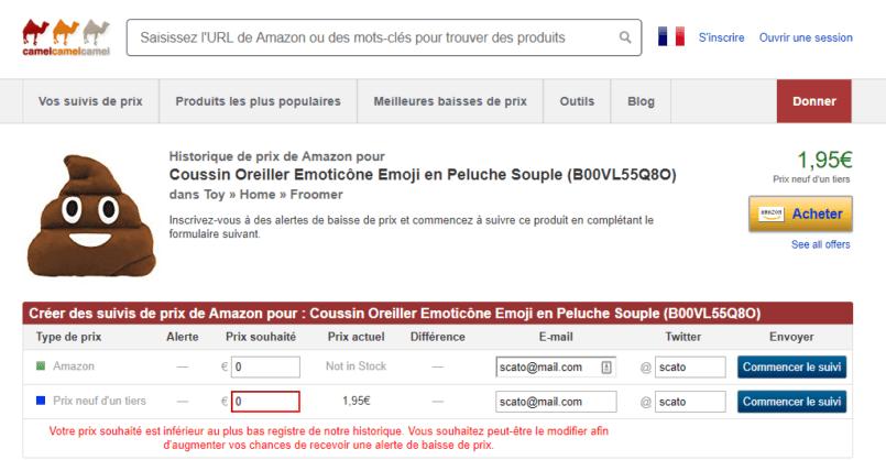 Capture d'écran du site camelcamelcamel, coussin caca.
