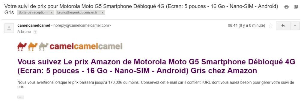 Capture d'écran d'un mail camelcamelcamel, confirmation de suivi de prix.