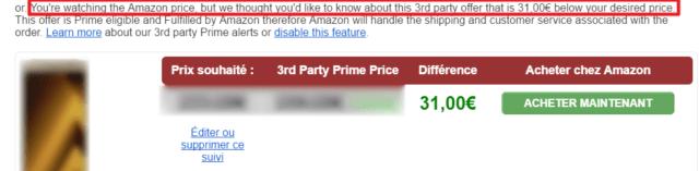 Capture d'écran d'un mail Camelcamelcamel, alerte prix tiers premium.