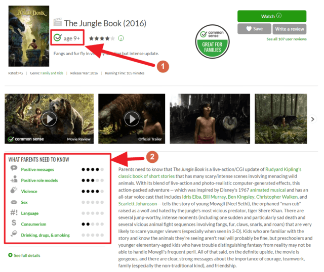 "Capture d'écran du site Common sense media, pas ""Le Livre de la Jungle (2016)""."
