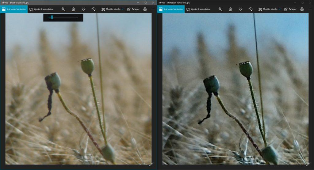 Capture d'écran de l'application Photos ouverte 2 fois; à gauche la photo ICE, à droite la photo PhotoScan.
