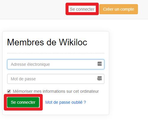 Capture d'écran du site web Wikiloc, connexion compte.