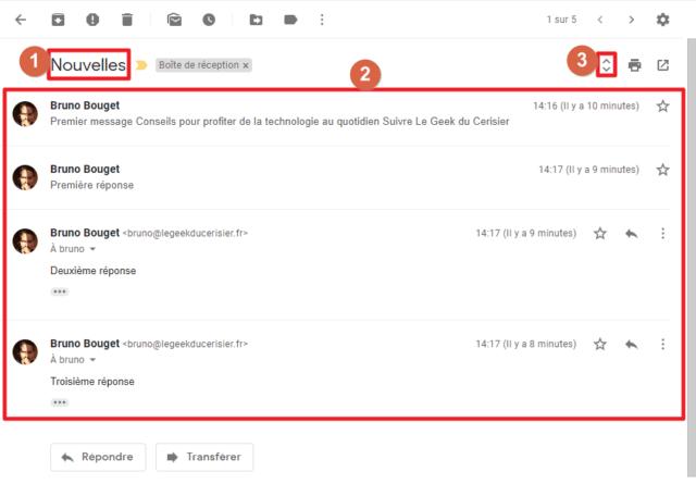 Capture d'écran du site Gmail, conversation Gmail ouverte.