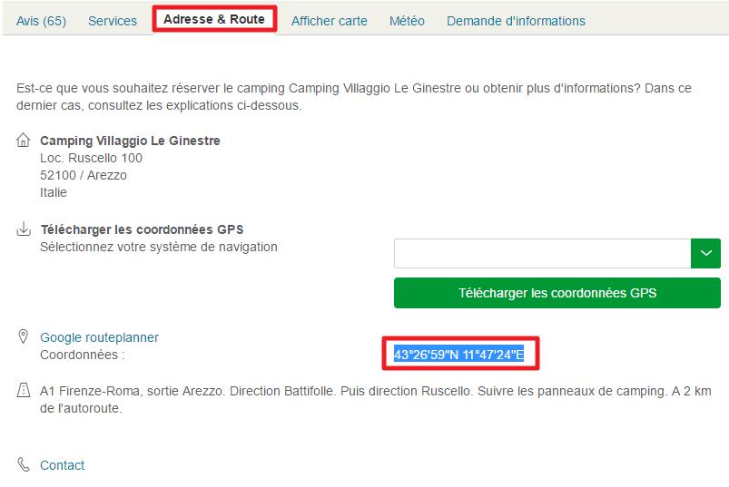 Capture d'écran du site Eurocampings : onglet adresse et route.