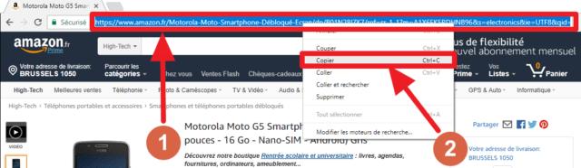 Capture d'écran du site Amazon, copie de l'adresse de la page d'un produit.