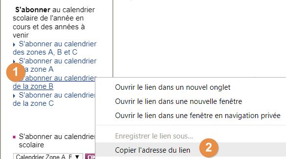 Capture d'écran du site education.gouv.fr, clic droit et copie du lien du calendrier des vacances scolaires