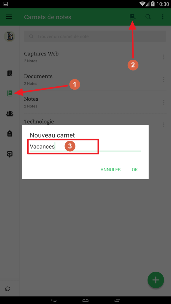 Création carnet de notes avec l'application Android