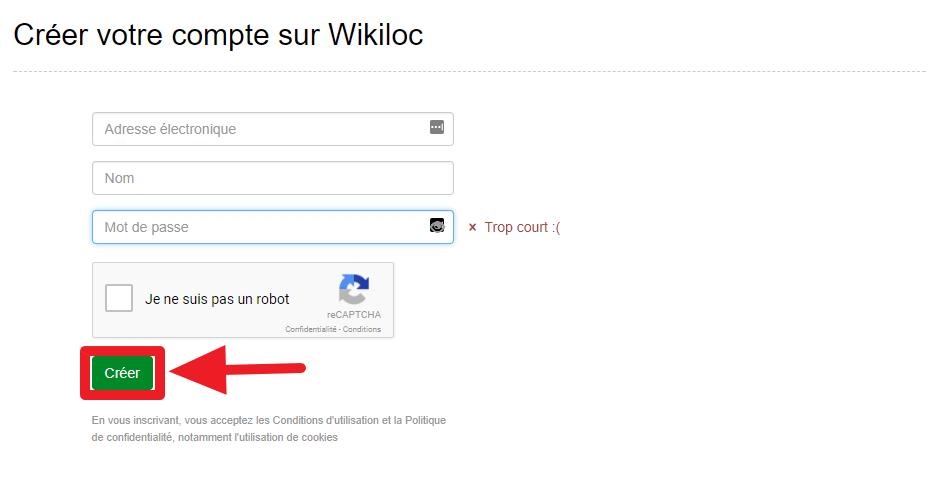 Capture d'écran du site Wikiloc, création d'un compte.