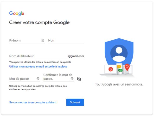 Capture d'écran de la page de création d'un comtpe Google.