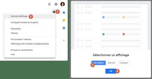 Capture d'écran du site Gmail, réglage de la densité d'affichage.