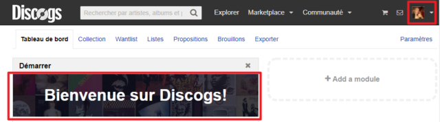 Capture d'écran du site Discogs, message de bienvenue.