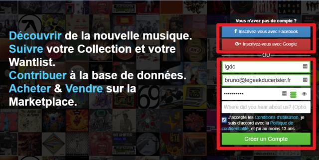 Capture d'écran du site Discogs, création d'un compte.