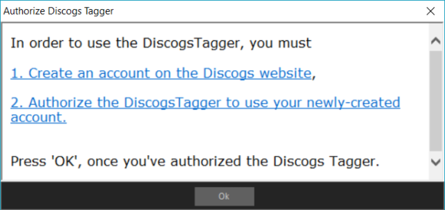 "Capture d'écran de l'application MediaMonkey, fenêtre ""Authorize Discogs Tagger""."