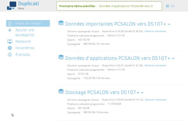 Capture d'écran de l'application Duplicati.