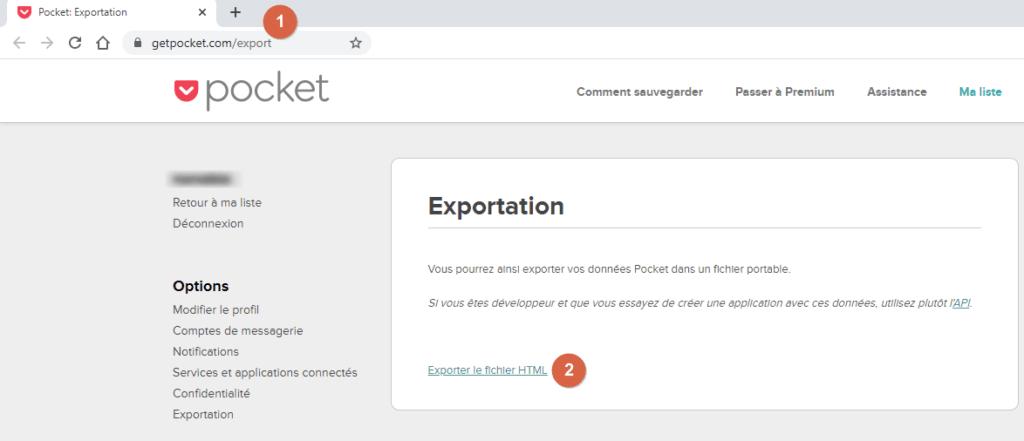 """Capture d'écran du site web Pocket, page """"Exportation""""."""