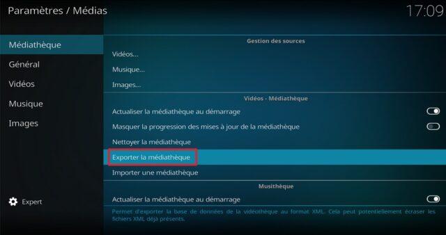 Capture d'écran de l'application Windows Kodi.