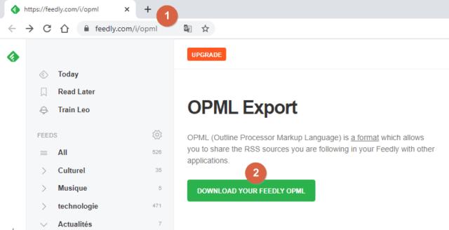 Capture d'écran du site Feedly.com, page OPML Export.