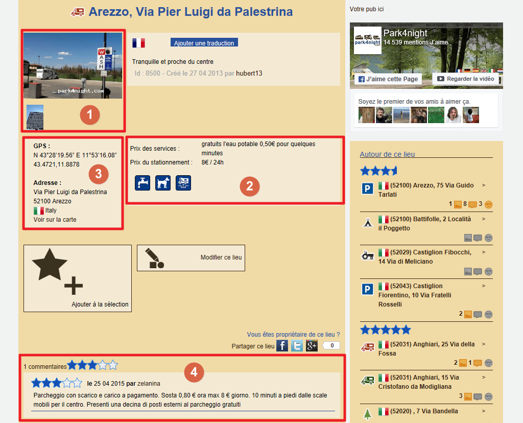 Capture d'écran du site park4night : fiche lieu