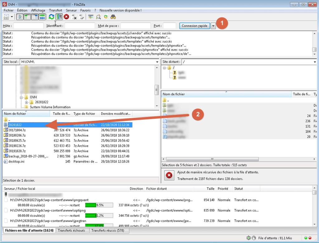 """Capture d'écran de l'application Windows """"Filezilla client""""."""