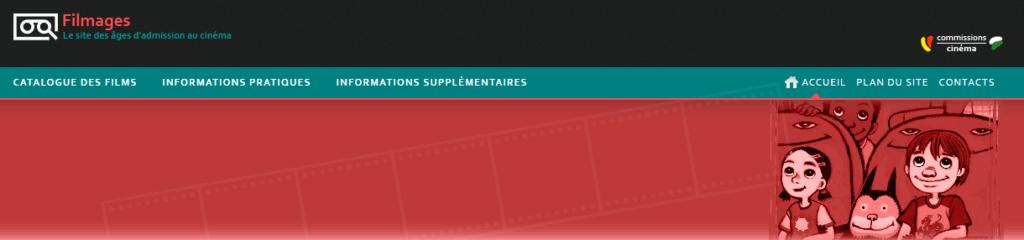 Capture d'écran du site Filmages