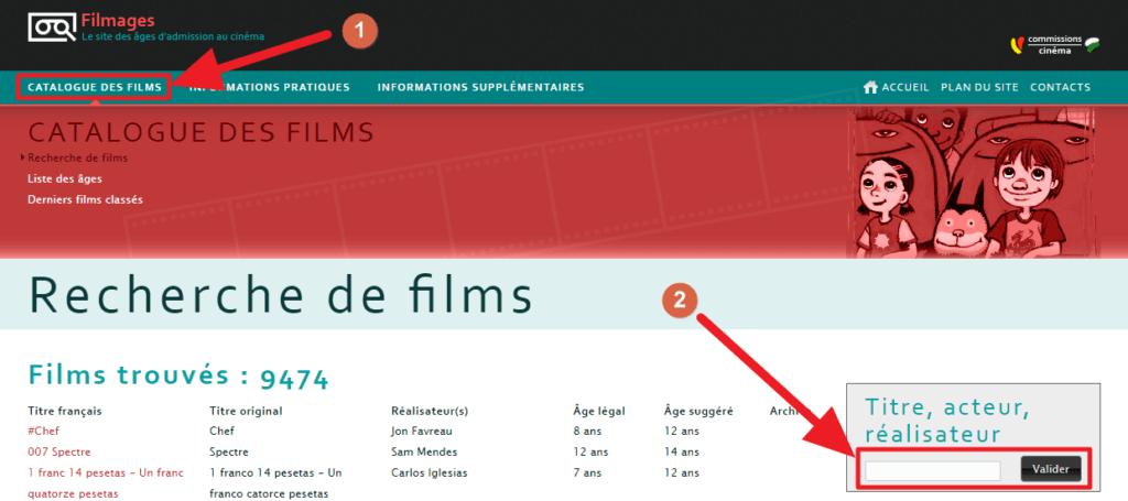 Capture d'écran du site Filmages, recherche.