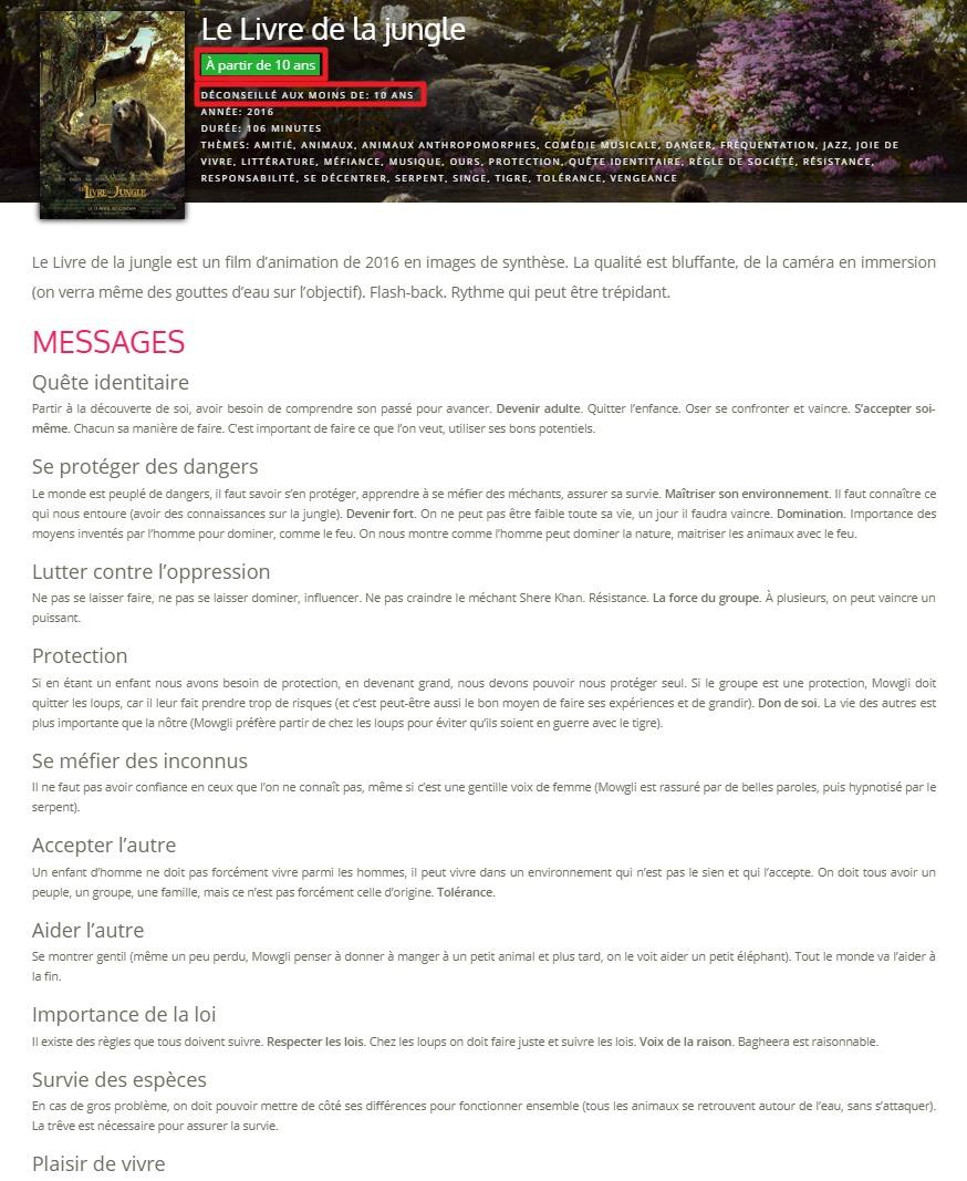 Capture d'écran du site films pour enfants, page film.