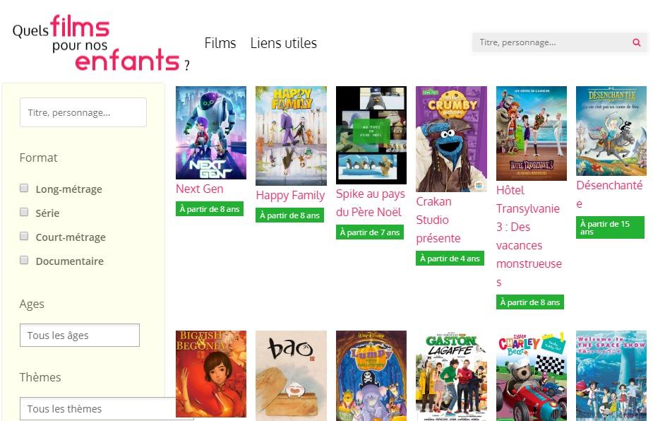 """Capture d'écran du site """"Films pour enfants""""."""